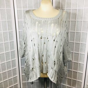 Anthropologie Elan Pullover Cable Knit Poncho OS